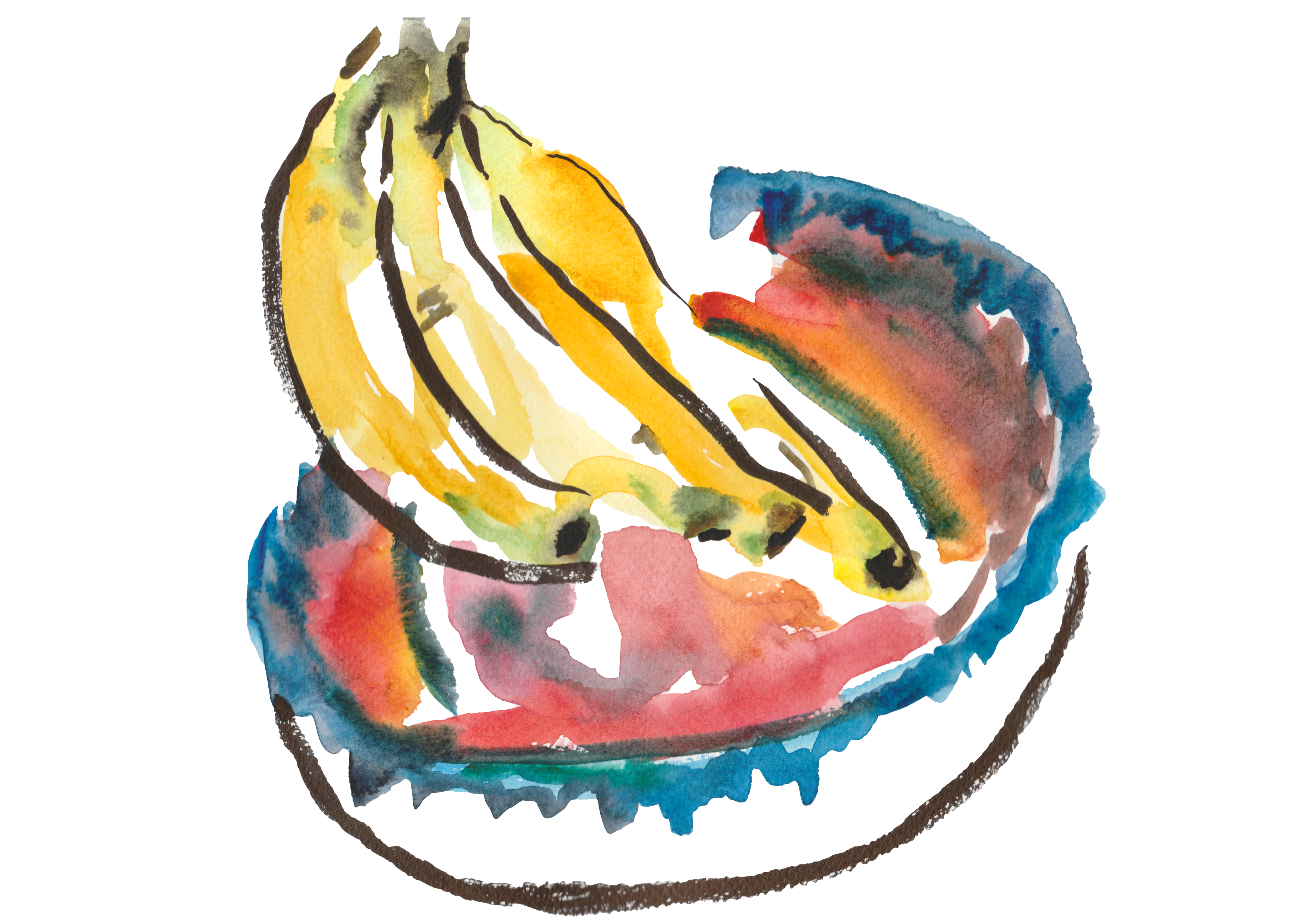Bananas in painted bowl